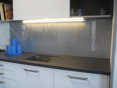 *VERKOCHT* Glaswand Blank-aluminiumkleurig - 225x75cm